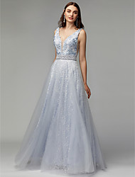 cheap -A-Line Plunging Neck Floor Length Lace Elegant & Luxurious / Open Back / Pastel Colors Formal Evening / Black Tie Gala Dress with Beading / Appliques / Lace Insert 2020