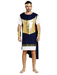 cheap -Soldier / Warrior Costume Men's Adults Ancient Greek Ancient Rome Halloween Halloween Carnival Masquerade Festival / Holiday Polyster Outfits Ink Blue Solid Colored Halloween