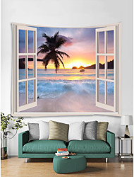 cheap -Window Landscape Wall Tapestry Art Decor Blanket Curtain Picnic Tablecloth Hanging Home Bedroom Living Room Dorm Decoration Polyester Sea Ocean Beach Sunset Sunrise Palm