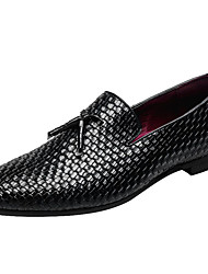 cheap -Men's Loafers & Slip-Ons Dress Shoes Business Casual Daily Party & Evening Outdoor Faux Leather Waterproof Non-slipping Wear Proof Black Blue Gray Fall Winter / Tassel / Tassel / Office & Career