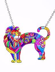 cheap -Women's Pendant Necklace Rolo Lion Statement Ladies Unique Design Hyperbole Alloy Rainbow 60 cm Necklace Jewelry 1pc For Holiday Street