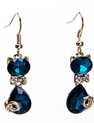 cheap -Women's Synthetic Amethyst Drop Earrings Classic Stylish Two tone Cat Ladies Stylish Classic Earrings Jewelry Gold For Daily Date 1 Pair