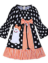 cheap -Kids Toddler Girls' Vintage Sweet School Holiday Polka Dot Patchwork Bow Patchwork Long Sleeve Above Knee Dress Black