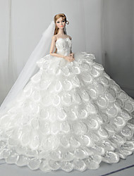 cheap -Doll accessories Doll Clothes Doll Dress Wedding Dress Party / Evening Wedding Ball Gown Tulle Lace Cotton Blend Silk / Cotton Blend For 11.5 Inch Doll Handmade Toy for Girl's Birthday Gifts  Doll