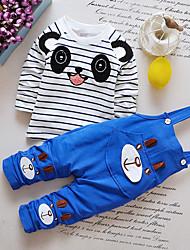 cheap -Baby Boys' Casual Basic Daily Birthday Black & White Houndstooth Check Long Sleeve Regular Regular Clothing Set Blue / Toddler