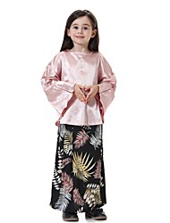 cheap -Kids Girls' Active Basic Street chic Party Daily Beach Floral Long Sleeve Regular Clothing Set Blushing Pink