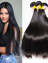 cheap -3 Bundles Malaysian Hair Straight Human Hair Natural Color Hair Weaves / Hair Bulk Bundle Hair One Pack Solution 8-28 inch Natural Color Human Hair Weaves Best Quality New Arrival For Black Women