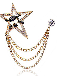 cheap -Men's Cubic Zirconia Brooches Stylish Link / Chain Statement Fashion British Brooch Jewelry Gold Silver For Daily Holiday