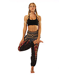 cheap -Women's High Rise Harem Smocked Waist Yoga Pants Floral Print Zumba Belly Dance Fitness Bloomers Bottoms Activewear Lightweight Breathable Moisture Wicking Soft Inelastic Loose