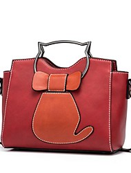 cheap -Women's Bow(s) PU Tote Black / Brown / Red