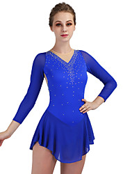 cheap -Figure Skating Dress Women's Girls' Ice Skating Dress Aquamarine High Elasticity Leisure Sports Competition Skating Wear Breathable Quick Dry Anatomic Design Curve Classic Long Sleeve Ice Skating