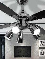 cheap -5-Light 132 cm Mini Style Ceiling Fan Metal Novelty Electroplated / Painted Finishes / Wood Retro / Country 110-120V / 220-240V / VDE / E26 / E27