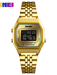 cheap -SKMEI Women's Sport Watch Digital Watch Japanese Digital 30 m Water Resistant / Water Proof Alarm Calendar / date / day Stainless Steel Band Digital Casual Fashion Gold / Pool - Blue Gold / Black