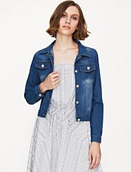 cheap -Women's Daily / Holiday / Weekend Street chic Spring &  Fall Short Denim Jacket, Solid Colored Shirt Collar Long Sleeve Cotton Blue XXL / XXXL / 4XL / Slim