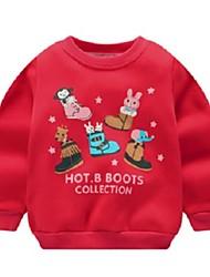 Недорогие -малыш Мальчики Активный С принтом Длинный рукав Худи / толстовка Красный