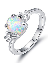 cheap -Women's Ring Opal 1pc Silver Resin Copper Platinum Plated Ladies Elegant Romantic Date Valentine Jewelry Stylish 3 stone Past Present Future Love Fireworks Lovely / Imitation Diamond