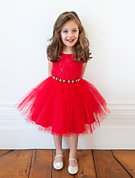 cheap -Kids Girls' Active Sweet Party Holiday Solid Colored Embroidered Short Sleeve Knee-length Dress Red / Cotton