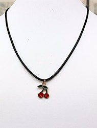 cheap -Women's Charm Necklace Stylish Braided Cherry Ladies Stylish Sweet Leather Alloy Black 50 cm Necklace Jewelry 1pc For Daily Date