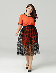 cheap -Women's Going out Slim Polo - Solid Colored Skirt Crew Neck