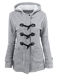 cheap -Women's Daily / Going out Basic / Street chic Spring / Fall & Winter Plus Size Regular Coat, Solid Colored Hooded Long Sleeve Polyester Dark Gray / Gray / Wine