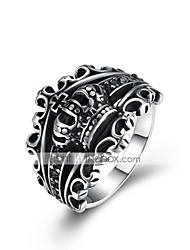 cheap -Men's Band Ring 1pc Black Titanium Steel Tungsten Steel Circle Geometric Vintage Punk Initial Daily Work Jewelry Vintage Style Hollow Out Engraved Creative Cool