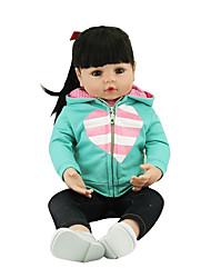 cheap -NPKCOLLECTION NPK DOLL Reborn Doll Girl Doll Baby Girl 24 inch Gift Cute Artificial Implantation Brown Eyes Kid's Girls' Toy Gift