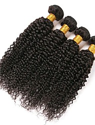 cheap -4 Bundles Indian Hair Kinky Curly Human Hair Natural Color Hair Weaves / Hair Bulk Extension Bundle Hair 8-28 inch Natural Color Human Hair Weaves Women Extention Best Quality Human Hair Extensions