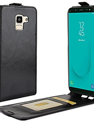 cheap -Case For Samsung Galaxy J8 / J7 Duo / J7 (2017) Card Holder / Flip / Magnetic Full Body Cases Solid Colored Hard PU Leather
