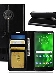 cheap -Case For Motorola Moto X4 / MOTO G6 / Moto G6 Play Wallet / Card Holder / Flip Full Body Cases Solid Colored Hard PU Leather