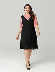 cheap -Women's Daily Basic Sheath Dress Crew Neck Summer Black XXXL XXXXL XXXXXL