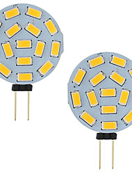 cheap -3W Led G4 Car Marine Camper RV 15 LEDs 5730 SMD Round Range 120 Degree AC / DC 12V - 24V Cold / Warm White (2 Pcs)