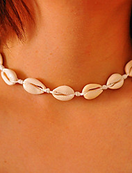 cheap -Girls' Choker Necklace Handmade Beach Theme Personalized Simple Bohemian Fashion Cowry Shell Cowrie Shell White Brown Line Necklace with Bracelet White Line Necklace with Bracelet Black Line Necklace