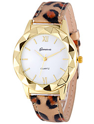cheap -Couple's Wrist Watch Gold Watch Quartz Leather White / Red / Purple Chronograph Casual Watch Analog Bangle Elegant - Red Leopard Gold / Red One Year Battery Life