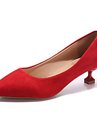 cheap -Women's Heels Kitten Heel Pointed Toe PU Basic Pump Summer Black / Red / Blue / Daily