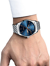 cheap -Men's Dress Watch Wrist Watch Quartz Stainless Steel Black / White / Gold 30 m Calendar / date / day Chronograph Creative Analog Luxury Classic Elegant - White / Blue Gold / Silver / White Gold