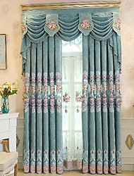 cheap -Modern Curtains Drapes Two Panels Curtain / Blackout / Embroidery / Living Room