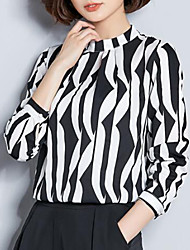 cheap -Women's Daily Going out Street chic Slim Blouse - Geometric / Color Block Print V Neck Black / Silk / Sexy