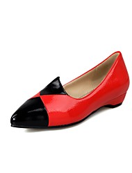 cheap -Women's Flats Flat Heel Pointed Toe PU Preppy Spring &  Fall Black / White / Red / Color Block
