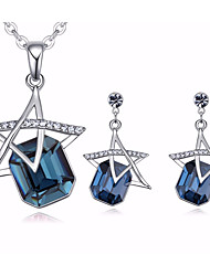 cheap -Women's AAA Cubic Zirconia Necklace Earrings Hollow Out Rolo Star Pentagram Dangling Romantic Sweet Austria Crystal Earrings Jewelry Silver / Rose Red / Blue For Gift Date