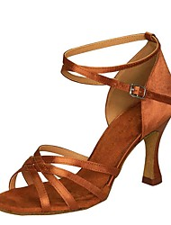 cheap -Women's Latin Shoes Satin Ankle Strap Sandal / Heel Flared Heel Customizable Dance Shoes Black / Brown / White / Performance / Practice