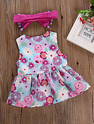 cheap -Baby Girls' Active / Chinoiserie Daily / Going out Floral Bow / Ruffle / Ruched Sleeveless Regular Short Cotton Dress Purple / Print / Toddler