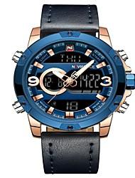 cheap -NAVIFORCE Men's Sport Watch Military Watch Japanese Japanese Quartz 30 m Water Resistant / Water Proof Alarm Calendar / date / day Genuine Leather Band Analog Digital Luxury Fashion Black / Blue