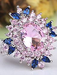 cheap -Women's Statement Ring Ring Amethyst 1pc Pink Copper Platinum Plated Imitation Diamond Ladies Unusual Unique Design Wedding Party Jewelry Layered Stylish Solitaire Flower Cute
