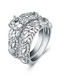 cheap -Women's Band Ring Cubic Zirconia 2pcs Silver Titanium Steel S925 Sterling Silver Circle Elegant Vintage Wedding Ceremony Jewelry Double Twine Flower / Engagement