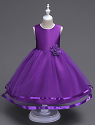 cheap -Kids Girls' Sweet Cute Party Holiday Solid Colored Sleeveless Knee-length Dress Purple / Cotton