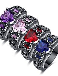 cheap -Women's Statement Ring Ring Sapphire 1pc Red Blue Pink Copper Imitation Diamond Ladies Stylish Gothic Lolita Party Night out&Special occasion Jewelry Hollow Out Sculpture Wings Heart Cute Cool