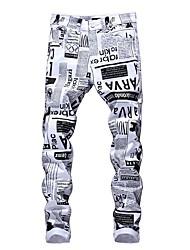abordables -Homme Chic de Rue Sortie Mince Chino Pantalon - Lettre Noir & Blanc, Imprimé Printemps Automne Blanche Noir Arc-en-ciel 34 36 38