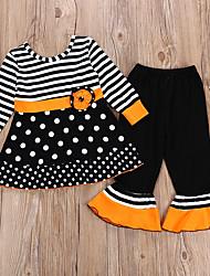 cheap -Kids Girls' Active Striped Halloween Long Sleeve Cotton Clothing Set Black