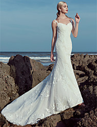 cheap -Mermaid / Trumpet Wedding Dresses Sweetheart Neckline Sweep / Brush Train Lace Tulle Spaghetti Strap Beautiful Back with Lace Beading 2020