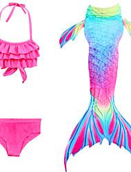 cheap -Kids Girls' Swimwear Bikini 3pcs Swimsuit Mermaid Tail The Little Mermaid Swimwear Color Block Sleeveless Yellow Fuchsia Sports Active Cosplay Costumes Bathing Suits 3-9 Years